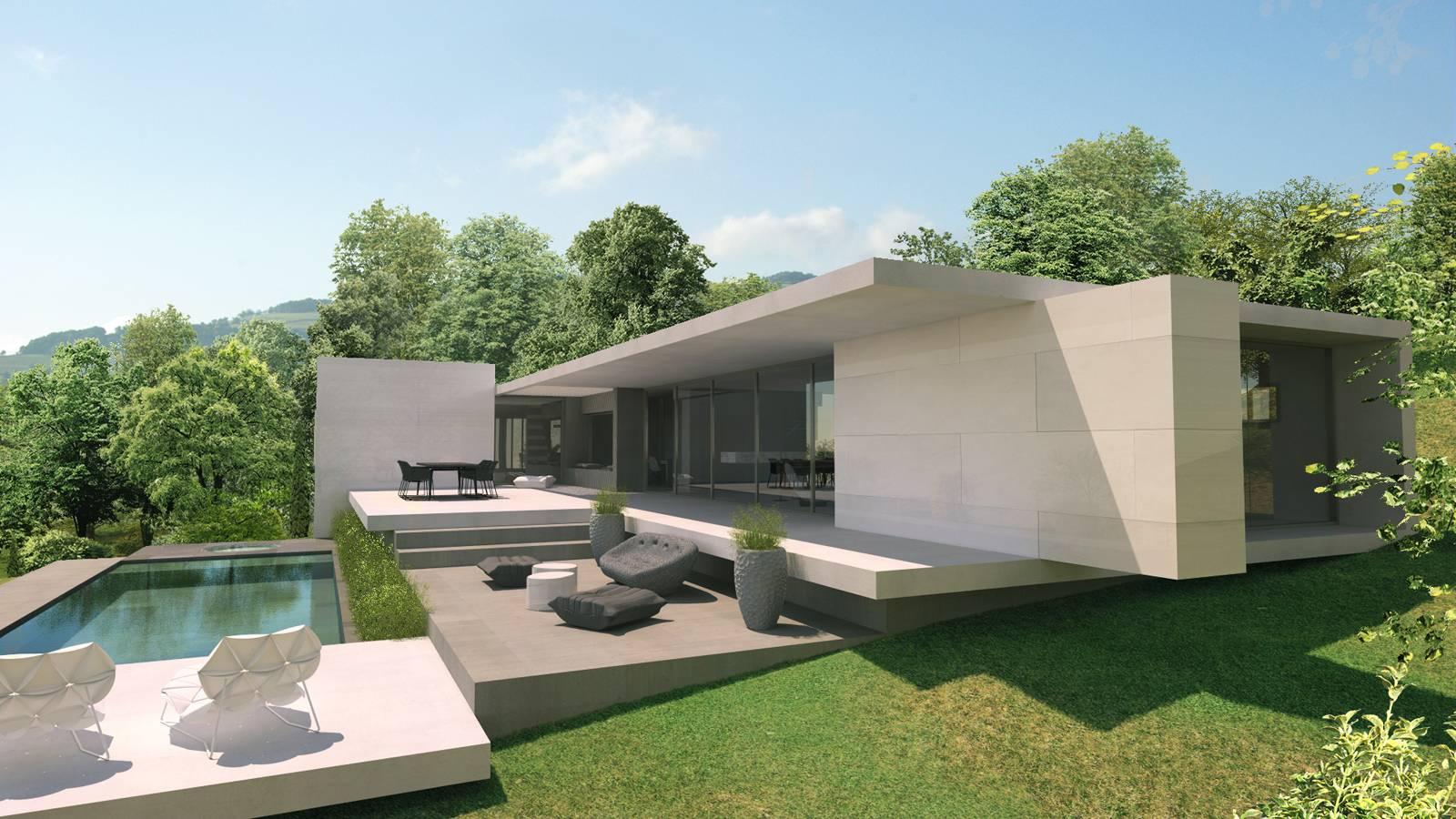 Maison d 39 architecte moderne g pr s de lyon architecte for Maison moderne 31